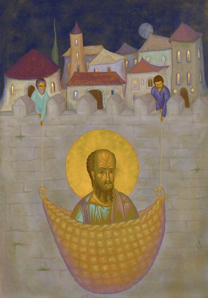 The Apostle Paul leaves Damascus in a basket