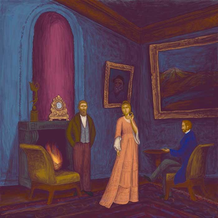 Ο πρίγκιπας Μίσκιν, ο Ραγκόζιν και η πανέμορφη Ναστάζια Φιλίποβνα.  Prince Miskin, Ragozin and the b